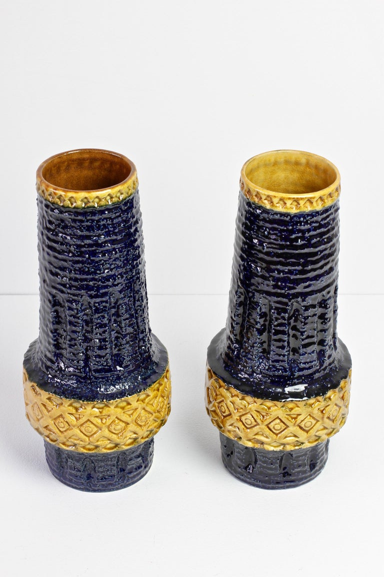 Ceramic Trio of Mid-Century West German Vases by Bay Keramik & Spara Pottery, circa 1970 For Sale