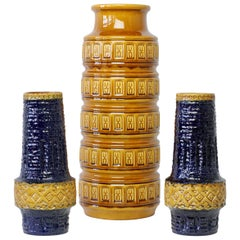 Trio of Midcentury West German Vases by Bay Keramik & Spara Pottery, circa 1970