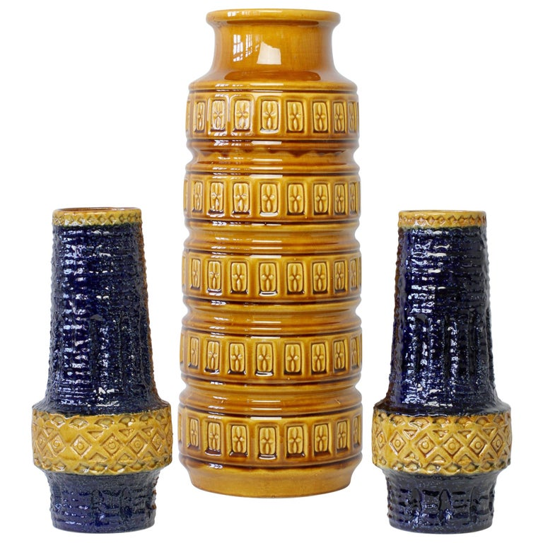 Trio of Mid-Century West German Vases by Bay Keramik & Spara Pottery, circa 1970 For Sale