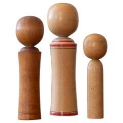 Trio of Minimalist Kokeshi Doll Sculptures Signed