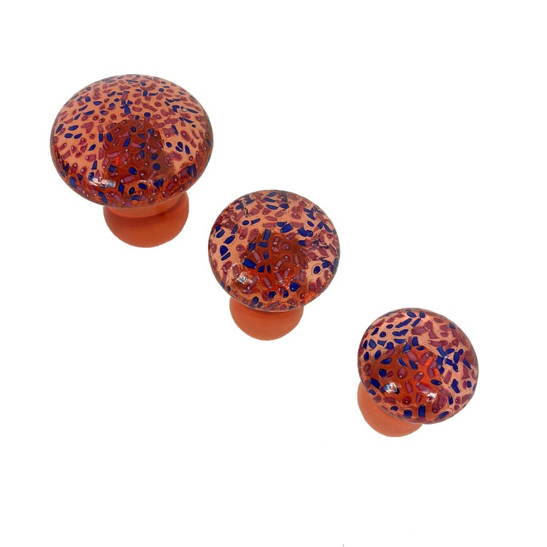 Italian Trio of Murano Toadstool Orange and Blue Art Glass Mushrooms Paperweight, Italy  For Sale