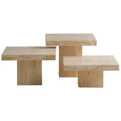 Trio of Polished Travertine Cocktail Tables