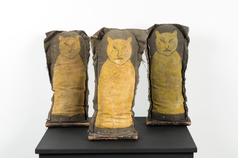 Collection of three primitive cool cat carnival midway punk knockdowns. Great graphic and color. Most likely one of a kind made by a carny. Great canvas and nail construction over wood base. Stuffed with straw.