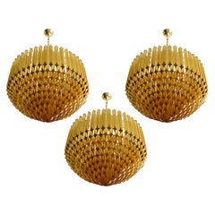 Trio of Quadriedri Murano Glass Chandelier, 265 Amber Prism, Gold Frame