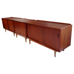 Trio of Scandinavian Modern Arne Vodder Teak and Oak Media Cabinets