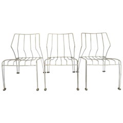 Trio of Stack-able Steel Garden Chairs, 1970-1979