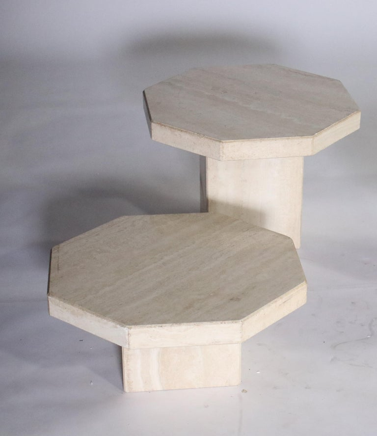 Italian Trio of Travertine Tables with Hexagon Shape Tops For Sale