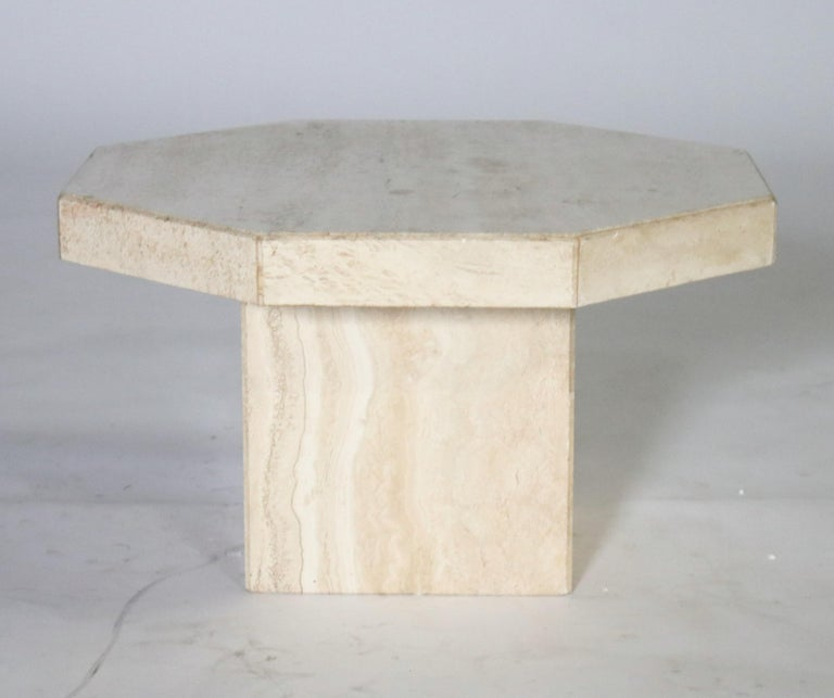 Trio of Travertine Tables with Hexagon Shape Tops In Good Condition For Sale In Chicago, IL