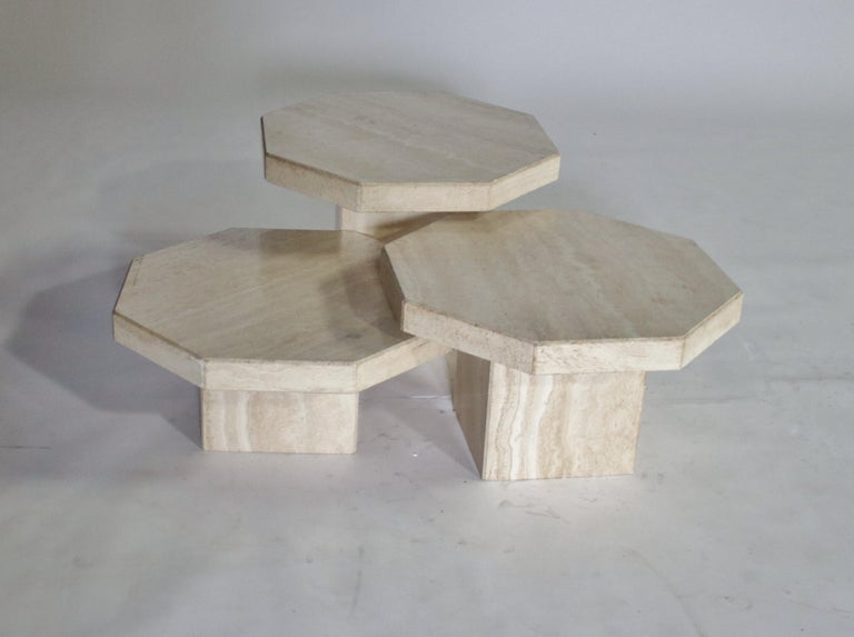 Trio of Travertine Tables with Hexagon Shape Tops For Sale 2