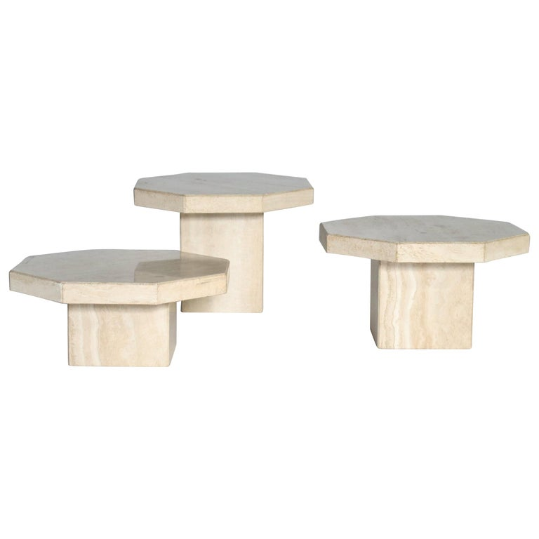 Trio of Travertine Tables with Hexagon Shape Tops For Sale