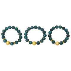 Trio of Turquoise Beaded and Gold Filled Bracelets