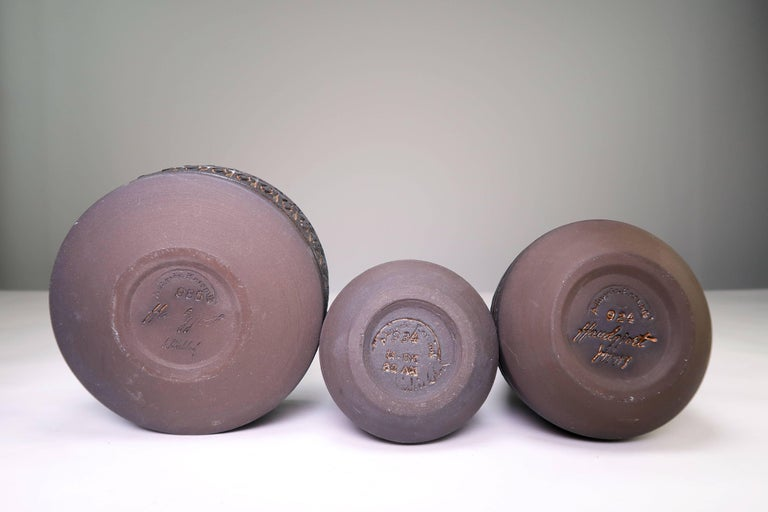 Mid-20th Century Set of Rustic Swedish Modern Ulla Winblad for Alingsås Vases and Bowl, 1960s For Sale