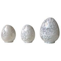 Trio of Vintage Egg Shaped Blister Glass Candleholders by Ingegerd Råman