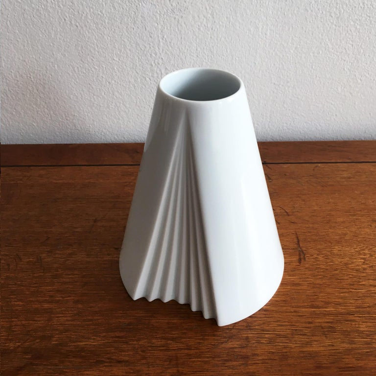 Trio of White Vases by Thomas, Dansk and Rosenthal Plissee  For Sale 3