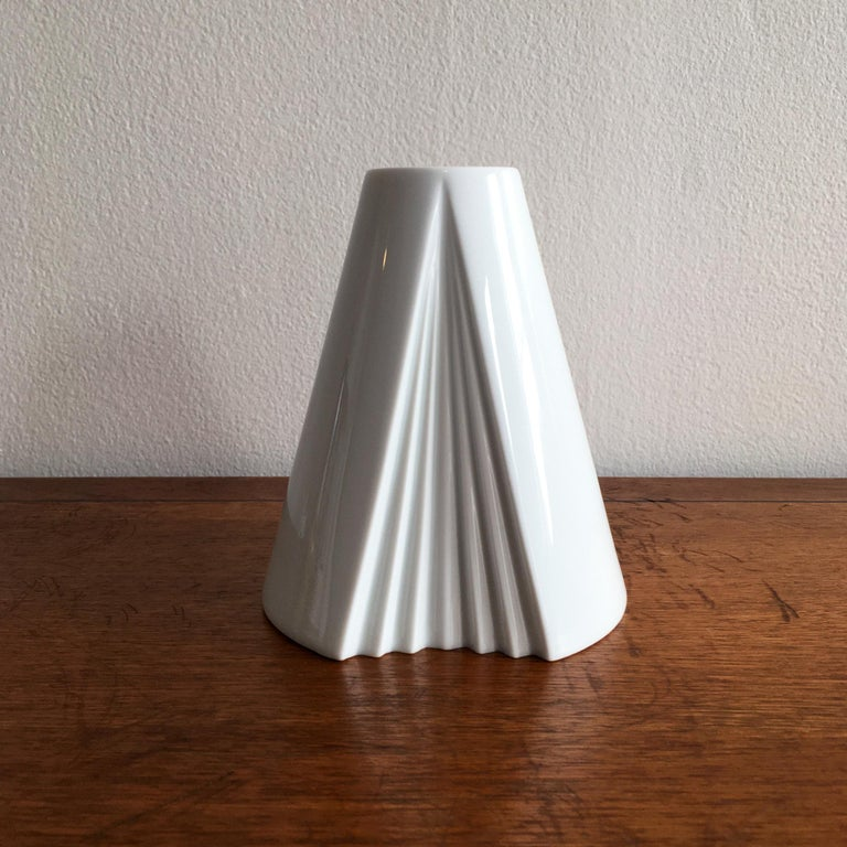 Trio of White Vases by Thomas, Dansk and Rosenthal Plissee  For Sale 4