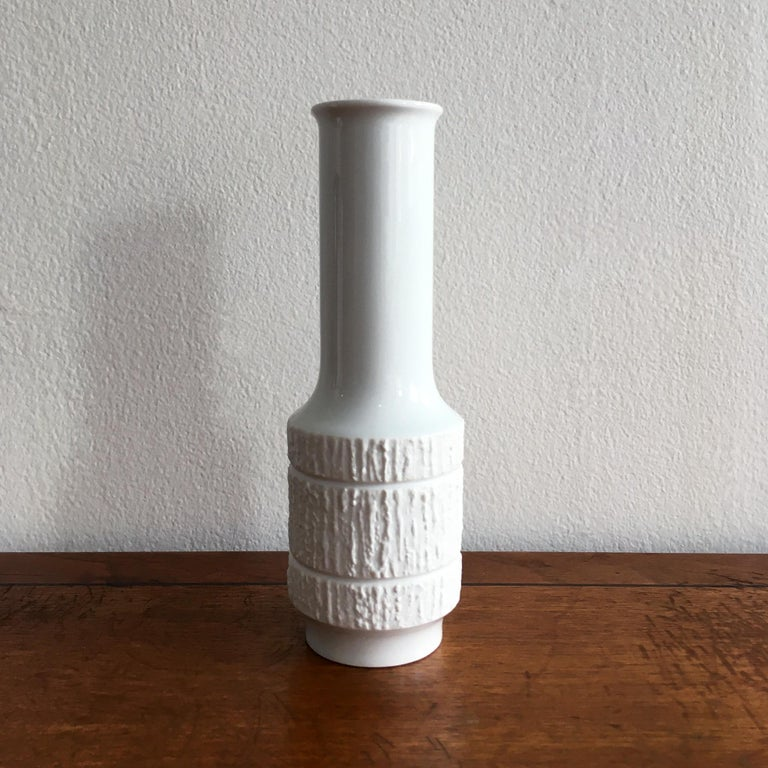 Mid-Century Modern Trio of White Vases by Thomas, Dansk and Rosenthal Plissee  For Sale