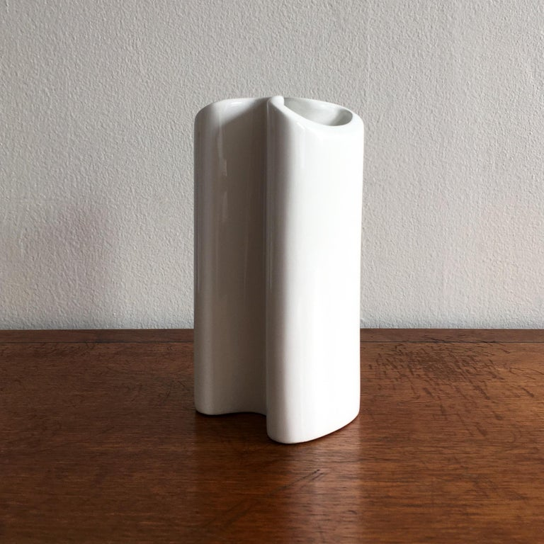 Ceramic Trio of White Vases by Thomas, Dansk and Rosenthal Plissee  For Sale