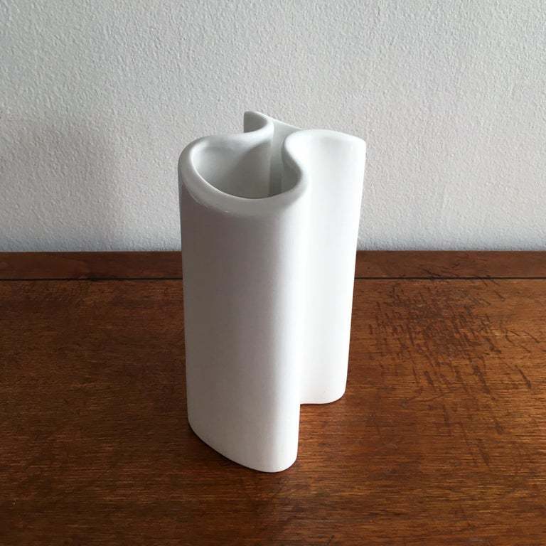 Trio of White Vases by Thomas, Dansk and Rosenthal Plissee  For Sale 1