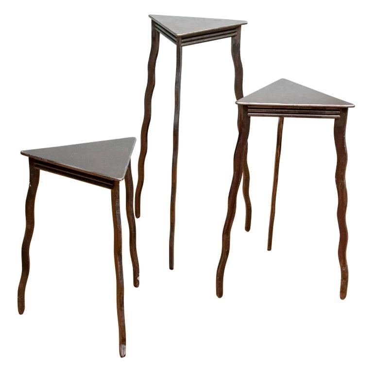 Trio of Will Stone Steel Triangle Tables or Pedestals