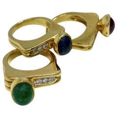 Trio of Yellow Gold Ruby Emerald Sapphire Diamond Rings
