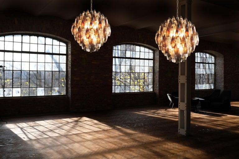 Elegant trio Italian pendant light made from 140 transparent and