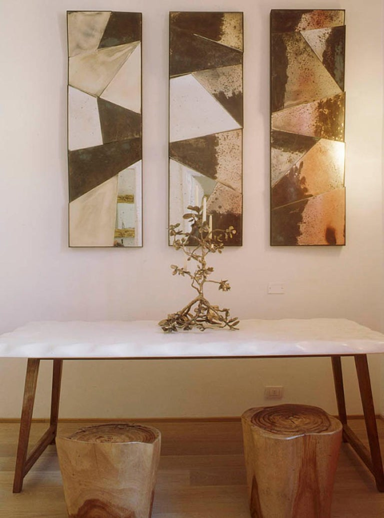 Group of 3 contemporary Sculpture Mirrors, Silvered Art Glass, now available   For Sale 5