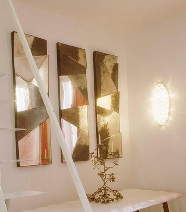Group of 3 contemporary Sculpture Mirrors, Silvered Art Glass, now available   For Sale 6