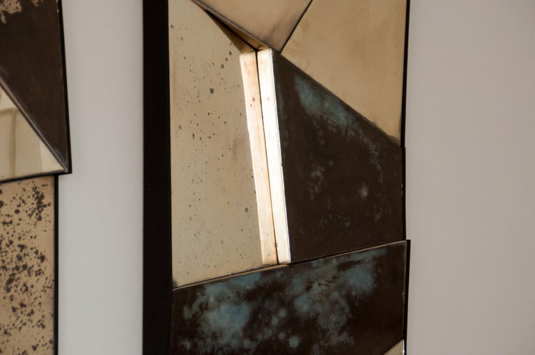 Group of 3 contemporary Sculpture Mirrors, Silvered Art Glass, now available   For Sale 7
