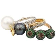 Trio Set Dangle Charm Rings Tsavorite Tahitian South Sea Pearls Diamond