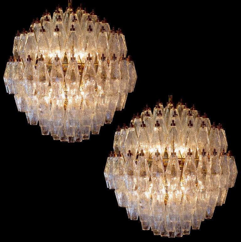 Trio Spherical Murano Poliedri Chandeliers Carlo Scarpa Style, Murano For Sale 4