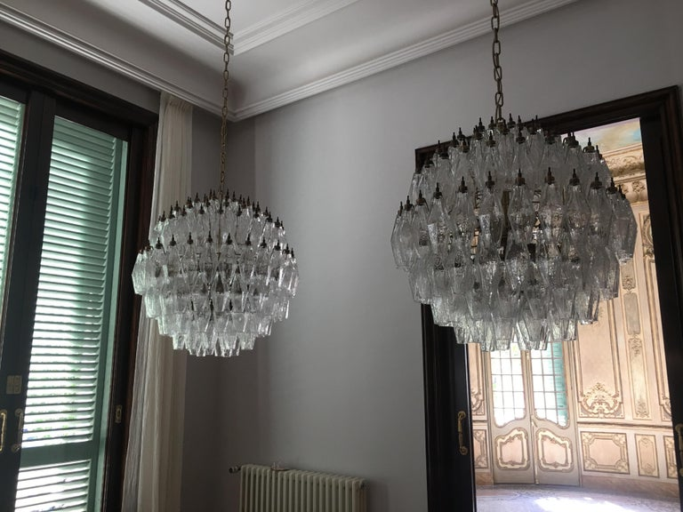 Trio Spherical Murano Poliedri Chandeliers Carlo Scarpa Style, Murano For Sale 6