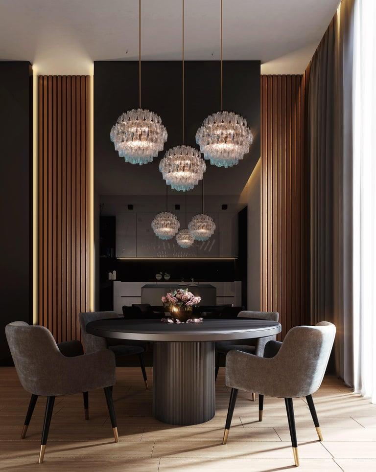 Trio elegant Italian pendant light chandeliers each made from 140 transparent Murano glasses