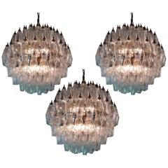 Trio Spherical Murano Poliedri Chandeliers Carlo Scarpa Style, Murano