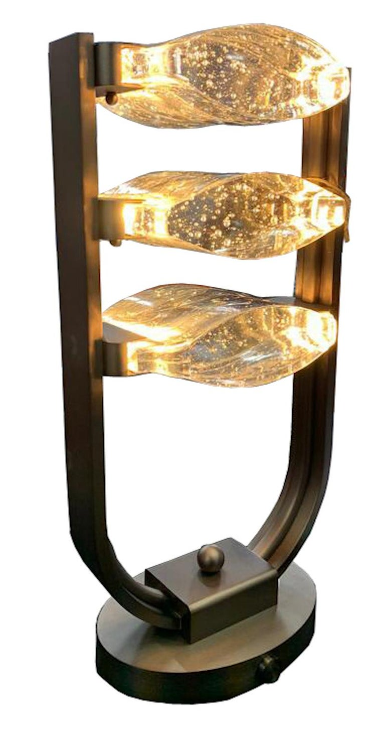 Modern Trio Table Lamp LED Mid Century Rhythm André Fu Living Bronze Brass Glass New For Sale