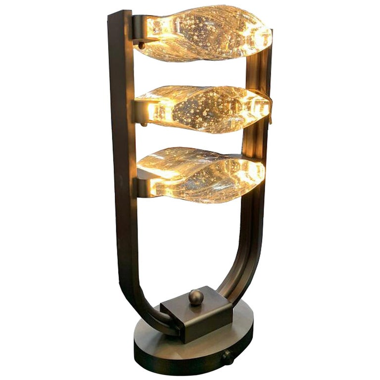 Trio Table Lamp LED Mid Century Rhythm André Fu Living Bronze Brass Glass New For Sale