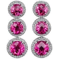 Trio Tourmaline Diamond Halo Earrings