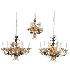 Trio Vintage Tole Painted Floral Chandeliers 2 with 6-Light and 1 with 3-Light