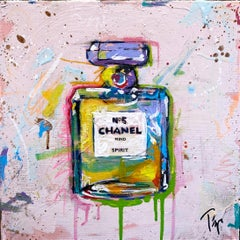 """Trip Park, """"Spirited Chanel"""", 12x12 Colorful Chanel No5 Perfume Bottle Painting"""