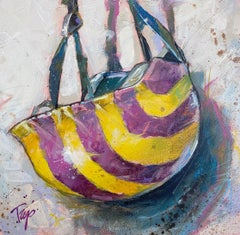 "Trip Park, ""Striper Head"", 16x16 Contemporary Jockey Helmet Painting on Canvas"