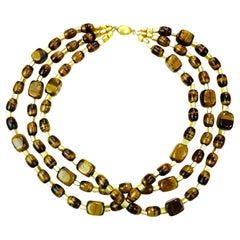 Gemjunky Three-Strand Chatoyant Tiger's Eye Necklace