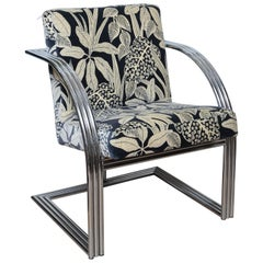 Triple Chrome Band Art Deco Style Air Chair by Milo Baughman
