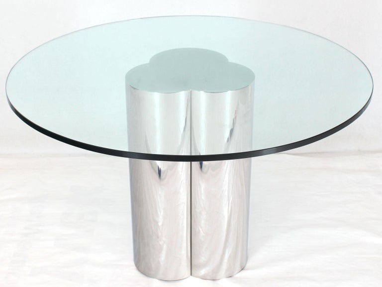 Triple Chrome Cylinder Base Glass Top Round Center Dining ...