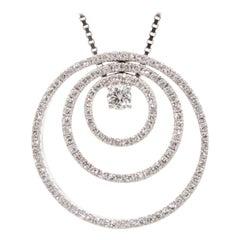 Triple Circle Diamond Pendant Necklace in White Gold