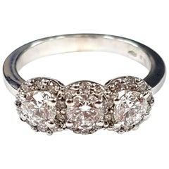 Triple-Cluster Diamond Ring in 18 Karat White Gold
