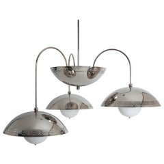 Triple Dome Chandelier in Nickel Designed by Commune for Remains Lighting