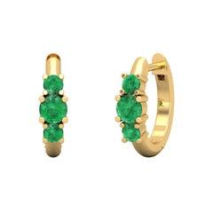 Triple Emerald 14 Karat Gold Huggie Hoop Earrings