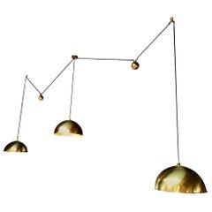 Triple Florian Schulz Brass Counter Balance Pendants