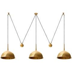 Triple Florian Schulz Pendant Lights, Brass Counterweight Counter Balance, 1970