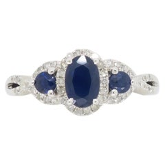 Triple Halo Diamond and Blue Sapphire Ring
