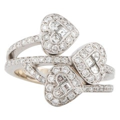 Triple Heart Diamond White Gold Ring